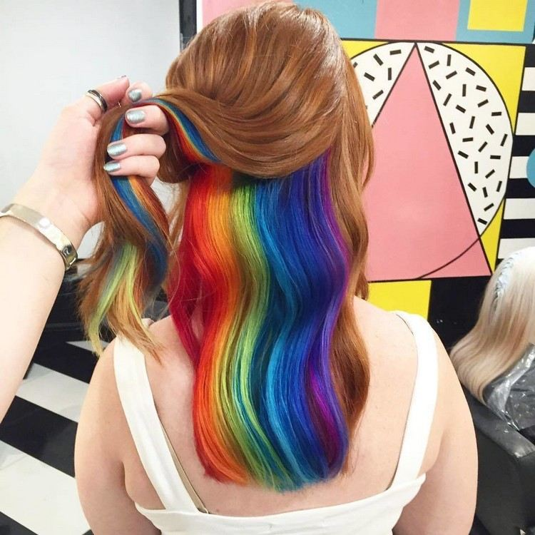 Hair Trends 2021: hidden rainbow hair